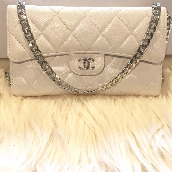 b21366435b72 CHANEL Handbags - CHANEL White Classic Flap  Removable Chain  WOC